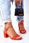 Suede High Heel Sandals Orange Vanessa