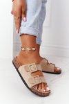Suede Slippers On The Cork Sole Beige Jennifer