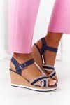 Wedge Sandals In Sailor Style Navy Blue Sea Wave