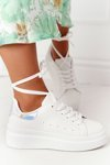 Women's Sport Shoes Sneakers On A Platform White-Silver Shine Bright