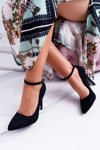 Women's Stilettos Fastened around the ankle Suede Black Holla